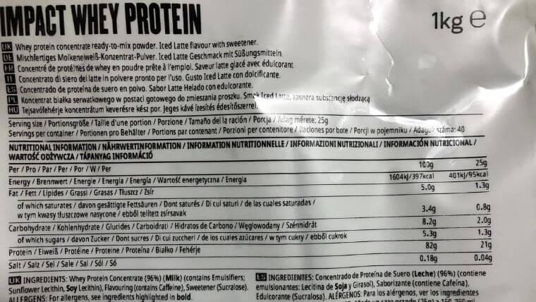 マイプロテイン「アイスラテ」の栄養成分