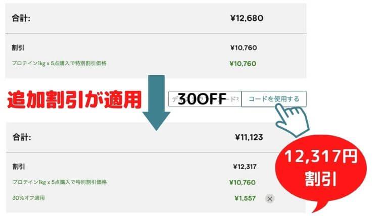 1000万人キャンペーン:「30OFF」割引コード使用