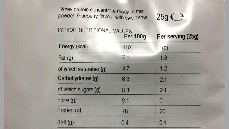 マイプロテイン「ブルーベリー」の栄養成分