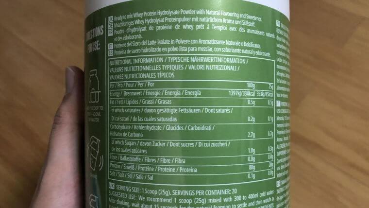 クリアホエイアイソレート「ビターレモン」の栄養成分